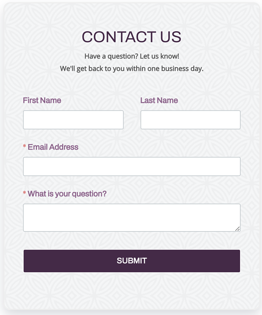 Contact Form for Answering Questions