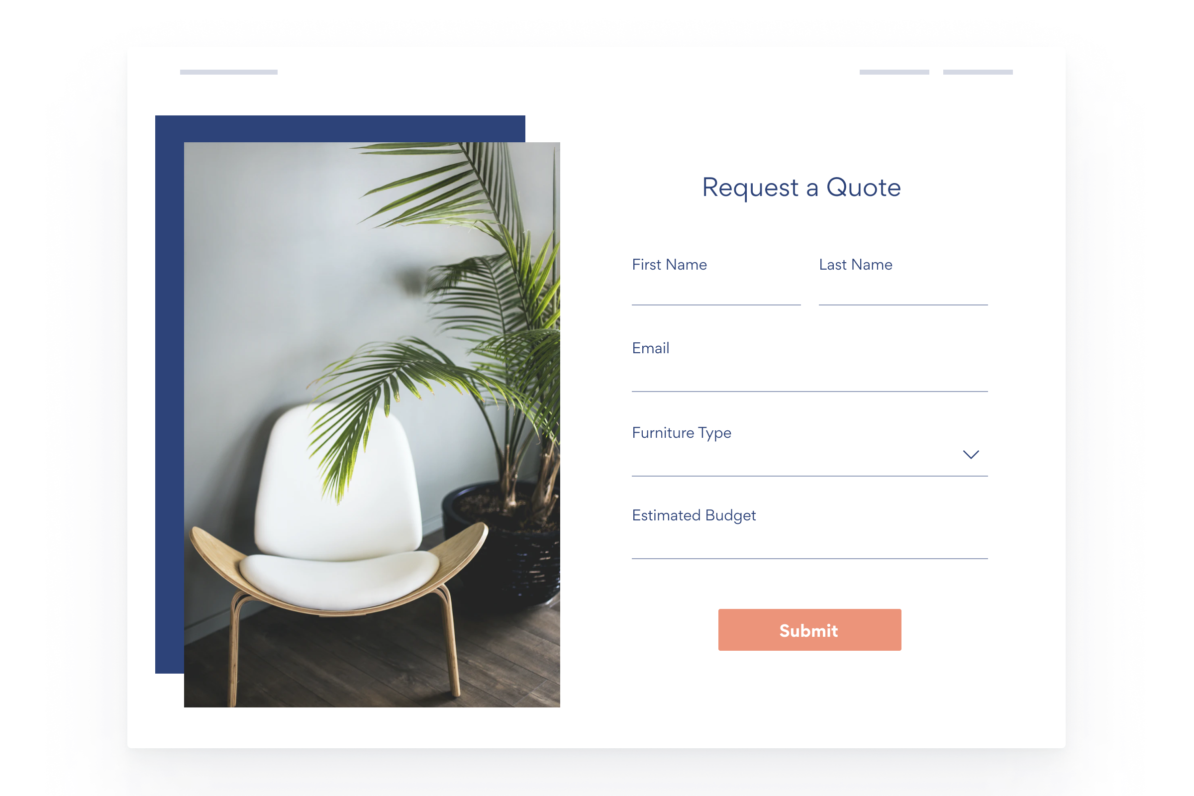 website-mock-quote-request-form