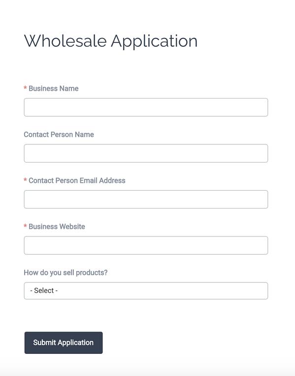 Wholesale Form